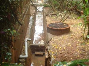 Storm-water recharges an aquifer through a recharge well